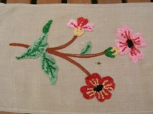 Vintage crewel embroidered table runner