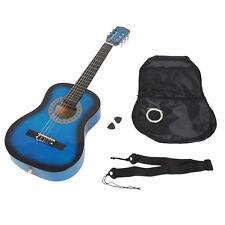 Guitare acoustique pour enfants 1/2 Noire et bleue avec housse et accessoires