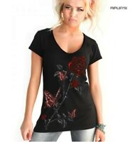 ALCHEMY Ladies V Neck T Shirt Top Gothic Red 'Butterfly Roses' All Sizes
