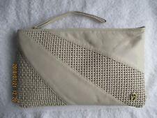 Womens Handbag Vintage Etienne Aigner Cream Leather Clutch Wristlet Purse NEW