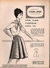 ▬► Patron Couture Supplément Écho de la Mode Jupe Rustique Taille 40 N°27 1960