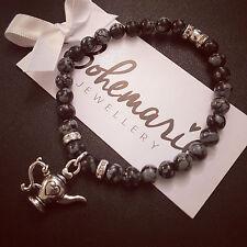 Snowflake obsidian teapot charm bracelet gemstone jewellery boho gypsy