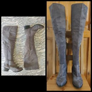 "New Look mink grey faux suede thigh high boots UK 8 2"" heel zips Autumn"