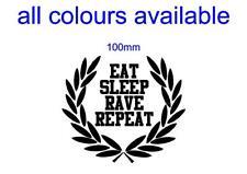 EAT SLEEP RAVE REPEAT laurel lambretta vespa flyscreen scooter sticker 100mm.
