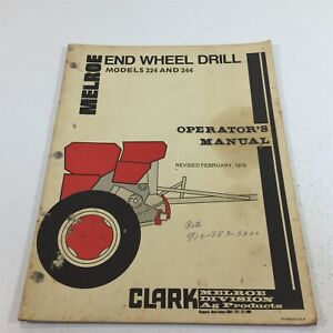 Genuine Melroe 224 and 244 End Wheel Drill Operator's Manual 437 122