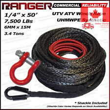 Ranger 7 500 LBs 1 4 x 50 UHMWPE Synthetic Winch Rope 6MM x 15M for UTV ATV W...