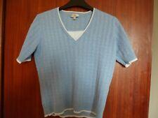 ladies CC blue cable style jumper size M short sleeved cotton blend white trim