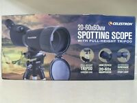 Celestron 20-60x60mm 45 Degree Zoom Power Spotting Scope Adjustable Tripod Case