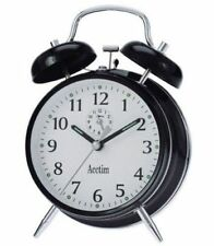 Acctim Keywound Saxon Black Alarm Clock Luminous Manual Old Style Traditional