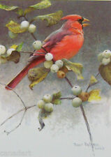 Robert BATEMAN Cardinal & Snowberries LTD art print MINT COA male
