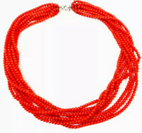 """Vintage Eight String Orange Small Glass Bead Necklace 20"""" Long GIFT BOXED"""