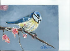 Blue Titmouse on branch in spring reproduction print 8x10 on linen cardstock