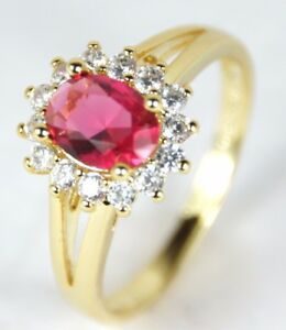 Women's Gold plated Red Crystal Ring