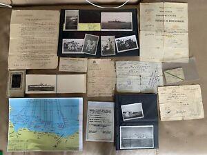 SUPER RARE WW2 French Navy D-Day Omaha Beach Cruiser Paperwork & Photographs