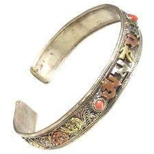 Tibetan 3-Color Copper Filigree Turquoise Red Coral OM Mani Amulet Cuff Bracelet