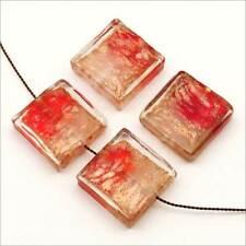 Lot de 4 Perles Artisanales Verre Lampwork Carrées 20mm Rouge Blanc feuille d'or