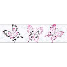 Wallpaper Border Pink Black Butterfly Scroll on White Butterflies