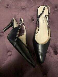 Anne Klein black leather heels Sling backs Comfortable Classic Heels Sz 7.5 EUC