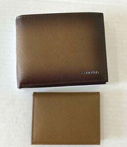 New Calvin Klein Men's Billfold wallet with passcase Leather Brown Gift box