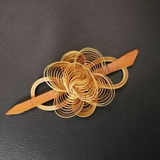 Vintage Wood Hair Pin Korea 3.5in x 2.5in Brown