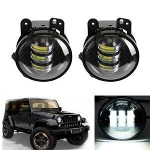 "Pair 4"" Inch Clear Round LED Fog Lights Driving Lamps For Jeep Wrangler JK TJ CJ"
