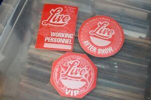 LIVE  - 3x Unused Backstage Pass    - FREE SHIPPING - Lot # 02 Ed Kowalczyk