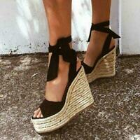 Womens Platform Wedge Heel Sandals Ladies Lace Up Strappy Espadrilles Shoes new