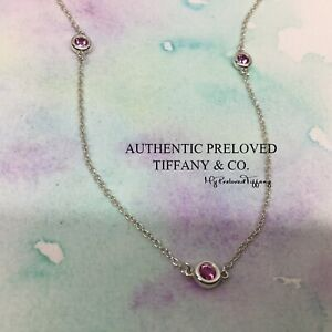 Authentic Tiffany & Co. Elsa Peretti By The Yard 3 Pink Sapphire 0.24ct Necklace