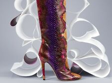 JIMMY CHOO TOSCA PYTHON Exotic Leather $2895 Boots Tall Knee Pumps 38 7.5