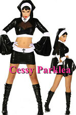 Lady Gaga Black PVC Sexy Sister Nun Fancy Dress Halloween Costume AU 8-12