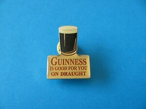 Guinness is Good for you On Draught Pin Badge. VGC. Unused. White top.
