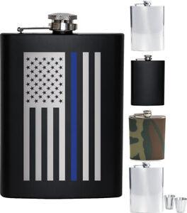 Steel Flask Gift Set 8 oz Silver Hip Waist Solid Army Camo Thin Blue Line Chrome