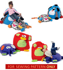 SEWING PATTERN!  MAKE KIDS SOFT CHAIRS~FLOOR PILLOWS! MONKEY~DOG~CAT~ELEPHANT!