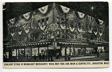 Brockton MA Mass 1909 Corner Main & Centre street view, signs, store, moonlight