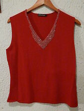 Womens Evening Top ~ A.D. Originals ~ Red ~ Sequined Décolletage ~ V Neck  ~ (M)