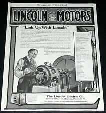 1919 OLD MAGAZINE PRINT AD, LINCOLN ELECTRIC MOTORS, LONG SERVICE, M.H.G. ART!