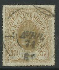 LUXEMBOURG. 1866. 37-1/2c Bistre, Coloured Roulette. SG:35. Good to Fine Used.