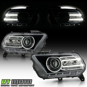 [Halogen Upgrade] 2010-2014 Ford Mustang LED Tube Projector Headlights Headlamps