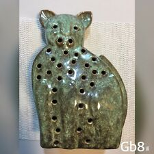 "Ceramic Candle Holder Tea Light Green Cat Figure 10"" with Holes House Decor"