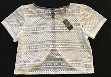 MISS ME Crochet Tulip Back Crop Top Off White Size M Medium NWT New Lace CUTE!