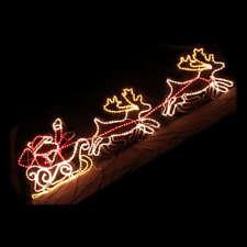 LED Santa on Sleigh Reindeer Rope Light Christmas Decoration 2.5M