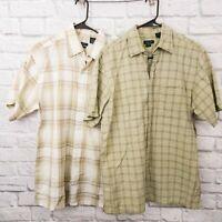 Lot of 2 Van Heusen Plaid Seersucker Short Sleeve Shirts Medium