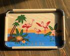 Vintage Drink Tray Florida Flamingo Wood Metal MCM JAPAN 60s 1960's Hand Painted