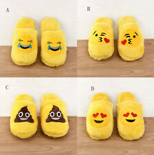 Unisex Emoji Cute Cartoon Slippers Warm Cozy Soft Stuffed Household Shoes