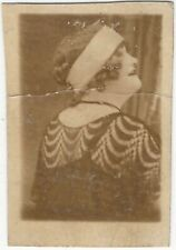 Young Flapper Woman in Headband & Fancy Blouse Head Shot Vintage Snapshot