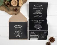 Rustic Wedding Invitation - Chalkboard Double-Folded (Portrait)