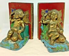 Rare 1924 Ronson Original Polychrome Painted Bookend ~ Cherub and Butterfly