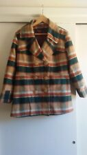 VTG JACKET 60s Plaid CAR COAT Green Sz L SHADOW PLAID Wool Mod Rockabilly 50s