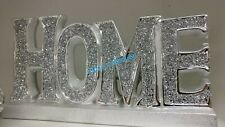 Free Standing Home Sign Ornament Crushed Crystal Diamond Silver Shelf New