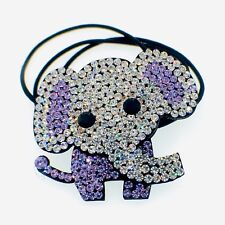 Elephant Hair Rope Band use Swarovski Crystal Ponytail Holder Hairpin Purple New